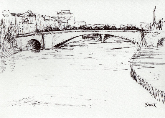 Bridge Near Notre Dame Cathedral, Pen and Ink Drawing From France