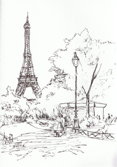 Eiffel Tower, Pen and Ink Drawing From France