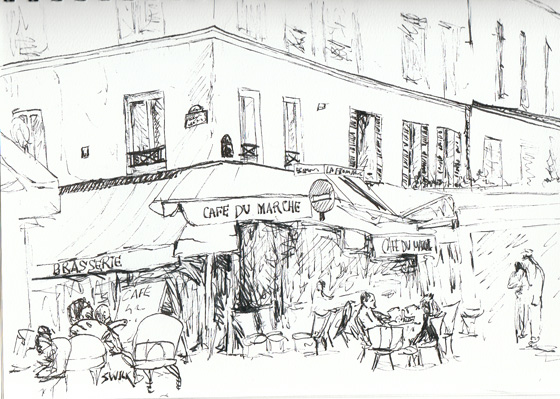 France Cafe Marche, Pen and Ink Drawing From France