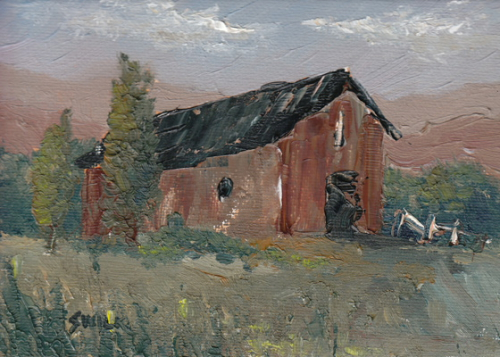 Mountain Barn, Oil Painting