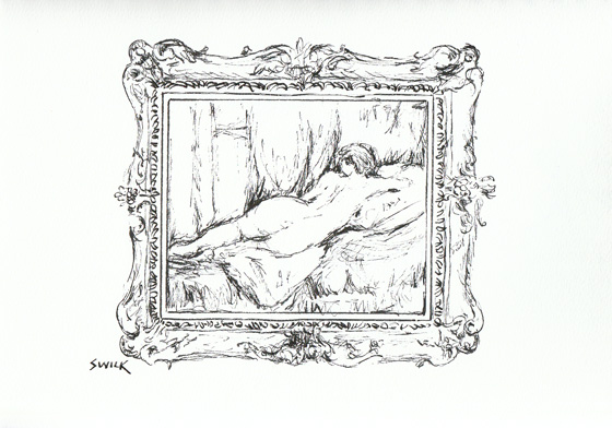 Musee Orsay Drawing of Renoir Painting, Pen and Ink Drawing From France