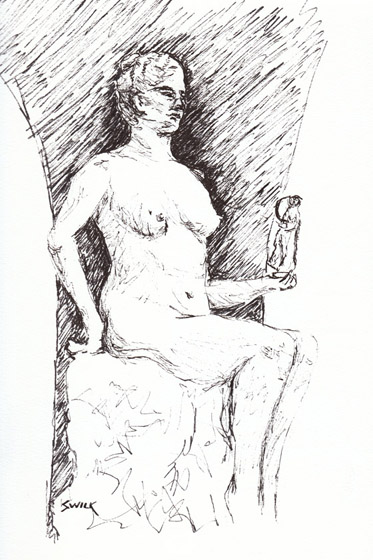 Musee Orsay Drawing of Rodin Statue, Pen and Ink Drawing From France