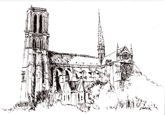 Notre Dame Cathedral, Pen and Ink Drawing From France
