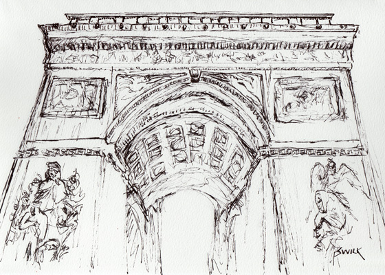 Pen Drawing of the Arc de Triomphe, Pen and Ink Drawing From France