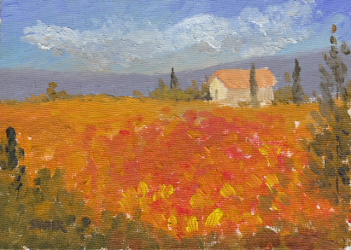 Tuscany Flowers, Oil Painting